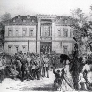Domnitorul Barbu Stirbey in curtea Palatului Stirbey din Bucuresti, 1854